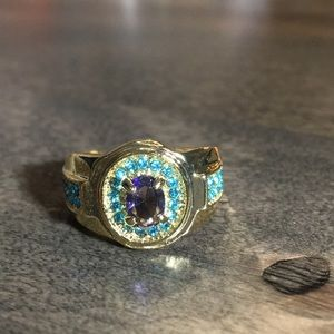 Purple and Teal Stone Statement Ring Size 7.5